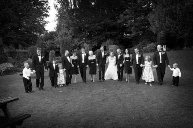 The Bridal party trying to walk in a straight line !!